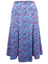 Marisota BLUE Printed Jersey Skirt - Plus Size 14 to 20 (Length 29in)