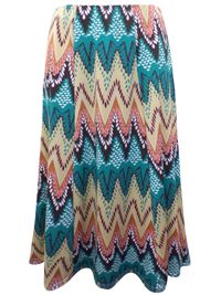 Zuri AQUA Pull On Chevron Print Panelled Skirt - Size Medium to Large