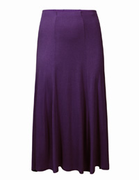 PURPLE Pull On Long Panelled Jersey Skirt - Size 10 to 22