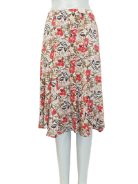 EWM IVORY Floral Print Pull On Skirt - Size 10 to 22