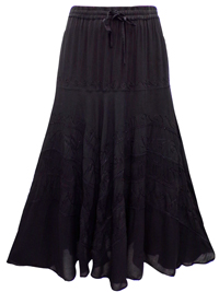 eaonplus BLACK Wiccan Hem Gothic Skirt - Plus Size 18 to 34