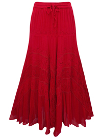 eaonplus DARK-RED Wiccan Hem Gothic Skirt - Plus Size 18 to 34