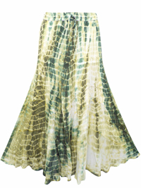 eaonplus GREEN Tie Dye Wiccan Hem Gothic Skirt - Plus Size 18 to 34