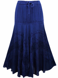 eaonplus NAVY Wiccan Hem Gothic Skirt - Plus Size 18 to 34
