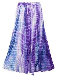 eaonplus PURPLE Tie Dye Wiccan Hem Gothic Skirt - Plus Size 18 to 34