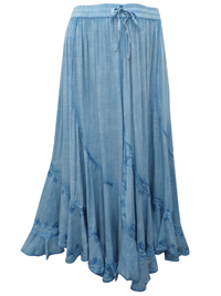 eaonplus CHAMBRAY Scalloped Renaissance Maxi Skirt - Plus Size 14/16 to 34/36
