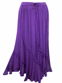 eaonplus PURPLE Scalloped Renaissance Maxi Skirt - Plus Size 14/16 to 34/36