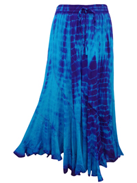 eaonplus TURQ/PURPLE Scalloped Renaissance Tie Dye Maxi Skirt - Plus Size 14/16 to 34/36