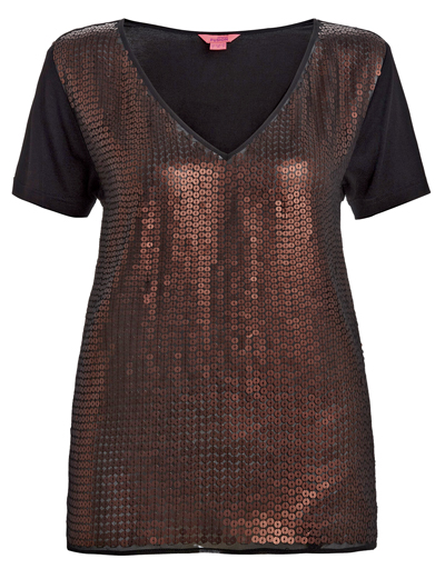 M0nsoon Black/Bronze Sequin Embellished Front T-Shirt - Size 8 to 16