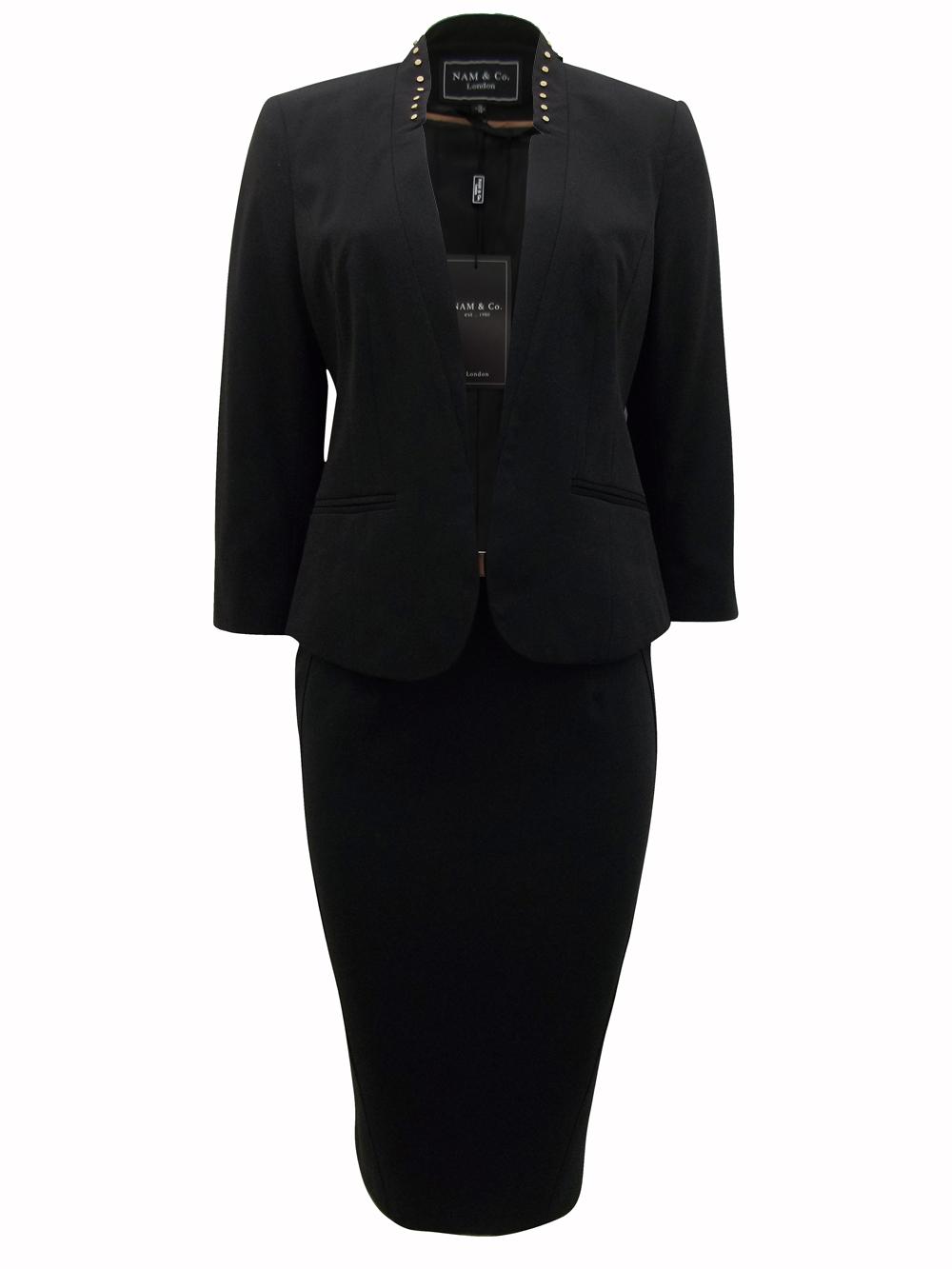 0484c09b56cdf Nam Co - - Nam Co BLACK Stud Embellished Belted Skirt Suit - Size 8 to 18
