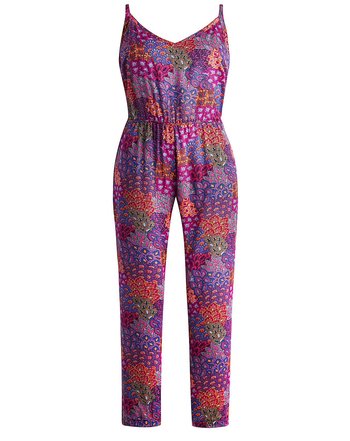 a9acd68851a Joanna Hope - - Joanna Hope PURPLE Printed Cuffed Leg Jumpsuit - Plus Size  12 to 30