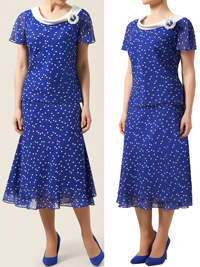 Jacques V3RT Blue Spotted Layer Skirt and Cowl Neck Top Suit - Size 10 to 20