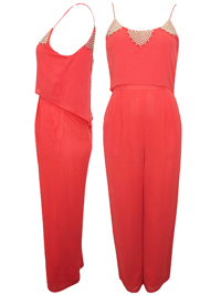 TFNC Coral Coral Embellished Neckline Chiffon Jumpsuit - Size Small & Medium