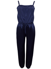 BH5 NAVY Drawstring Waist Full Length Satin Jumpsuit - Size 6 to 16 (34 to 44)