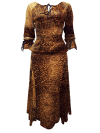 Karida Antique BRASS Devore Henna Print Gypsy Top & Skirt Set - Size 10 to 18