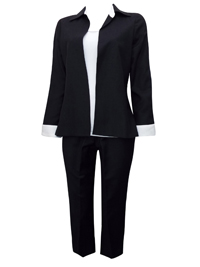Karida BLACK Linen Blend Contrast Cuff Jacket & Trouser Suit - Size 10 to 18