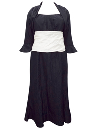 Karida BLACK Contrast Waist Dress & Bolero Set - Plus Size 12 to 22