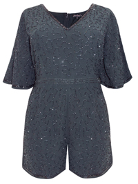 D.P3rkins SLATE All Over Beaded Playsuit - Size 10 to 20
