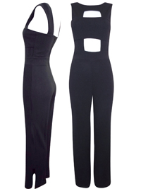 M1ss S3lfridge BLACK Sleeveless Cut-Out Jumpsuit - Size 6 to 14