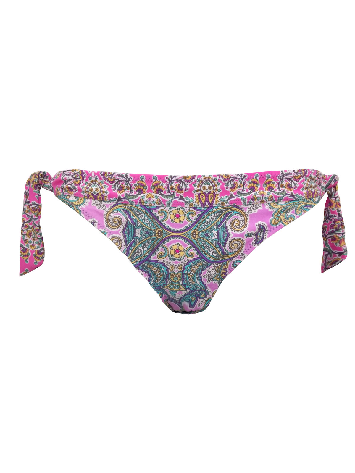 M0NS00N Accessor1ze PINK Paisley Print Tie Side Bikini Bottoms - Size 12 to 18