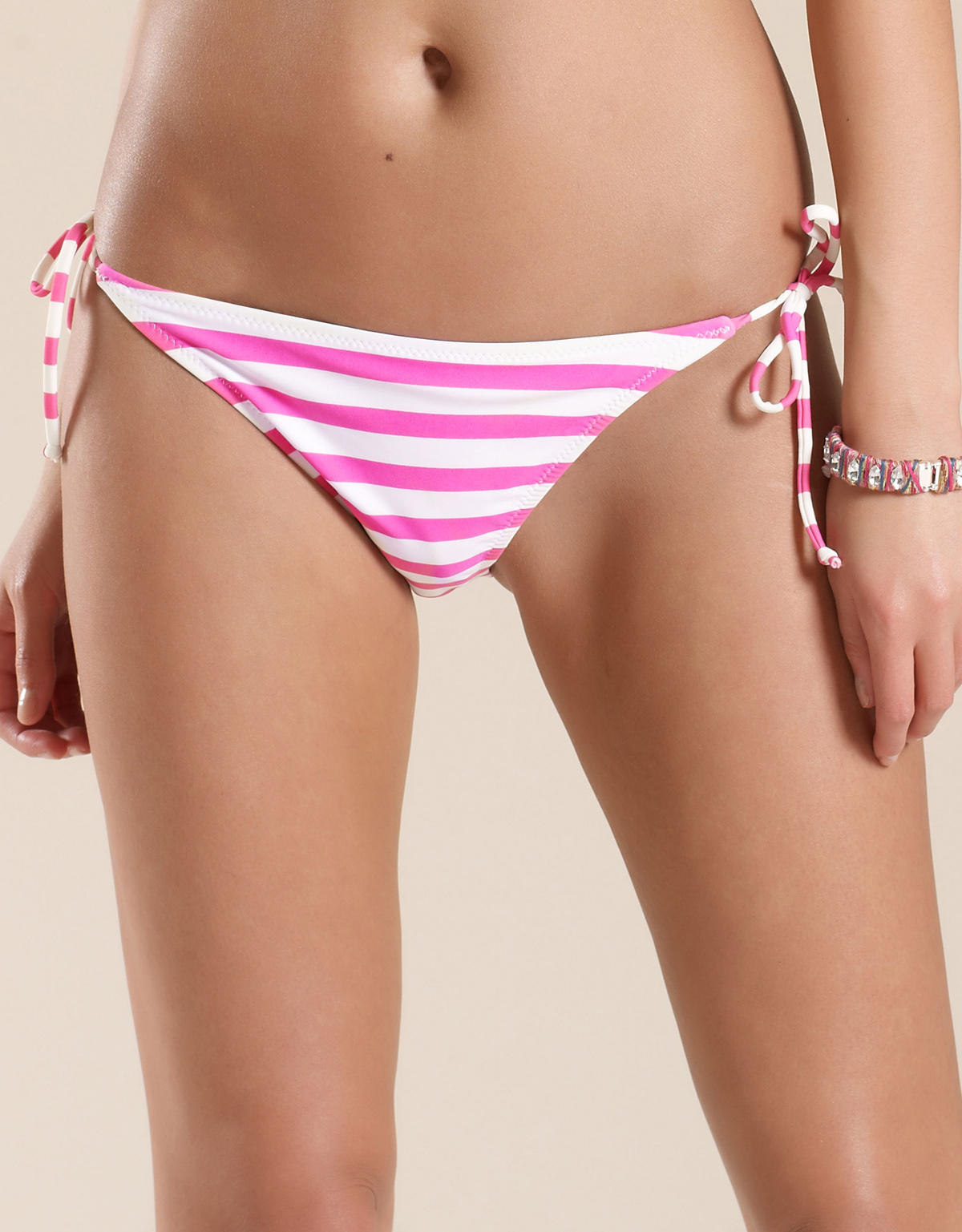 M0NS00N Accessor1ze PINK Horizontal Striped Bikini Bottoms - Size 8 to 18