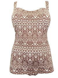 PLUS SIZE BROWN Tribal Print Swimsuit Dress - Size 24 to 30 (C-D-E-F)