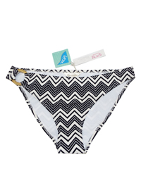 M0NS00N Accessor1ze BLACK Chevron Stripe Ring Side Hipster Bikini Bottoms - Size 6 to 18