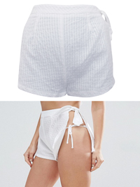 IRREGULAR - AS0S WHITE Open Side Self Stripe Beach Shorts - Size 6 to 14