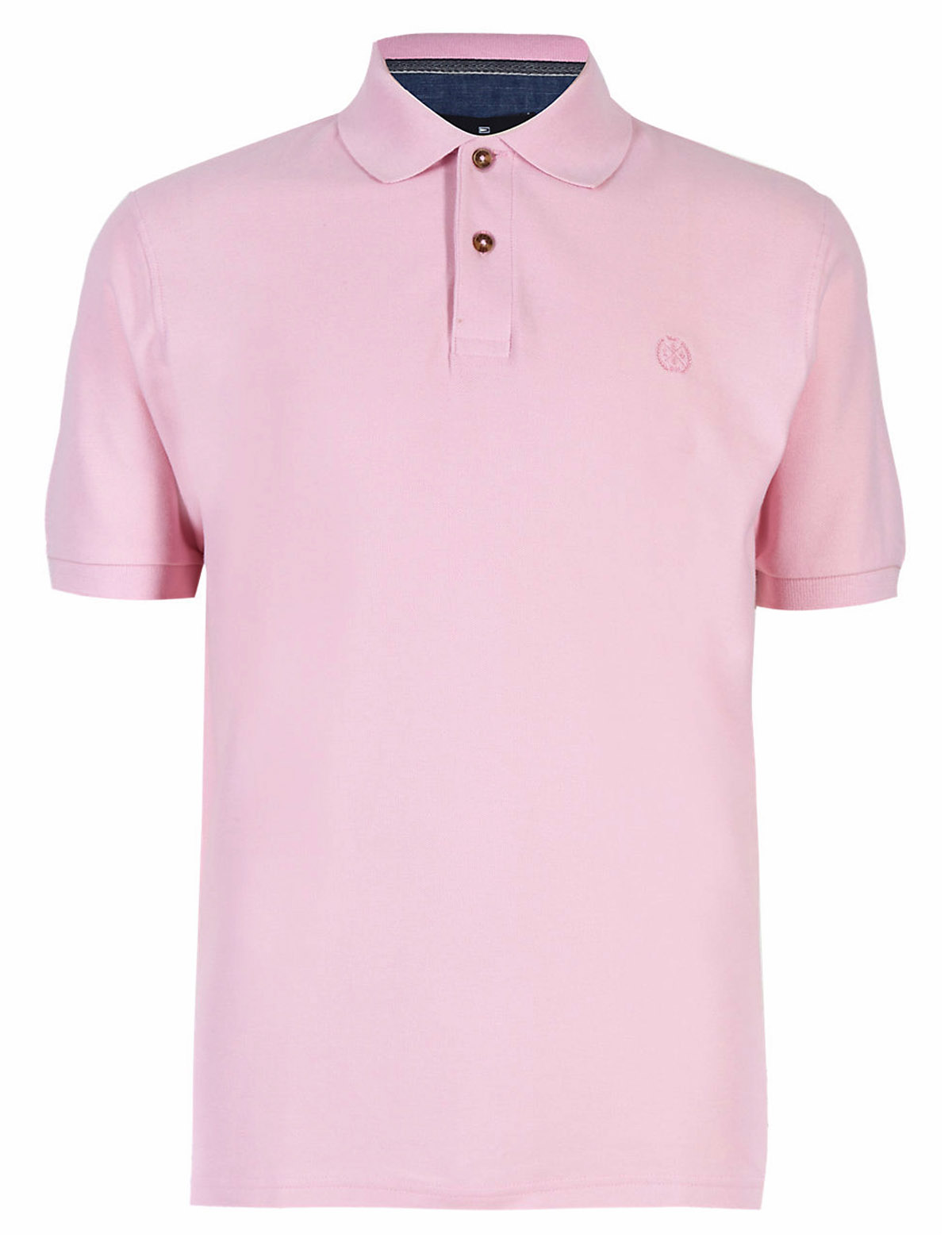 Marks And Spencer Blue H4rbour Mens Pale Pink Pure Cotton