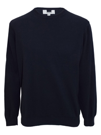 M&5 Men's NAVY Pure Cotton Tailored Fit Jumper - Size Large to XXLarge