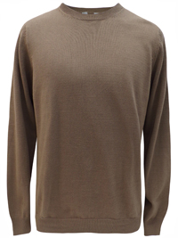 M&5 Mens COFFEE Pure Cotton Long Sleeve Jumper - Size Medium to XLarge
