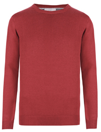 M&5 Mens REDWOOD Pure Cotton Long Sleeve Jumper - Size Medium to XLarge