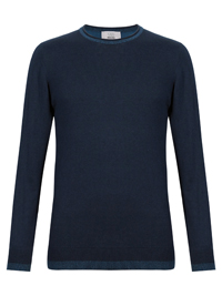 M&5 Mens Blue Mix Twist Colour Block Crew Neck Jumper- Size Small to XXLarge