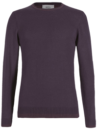 M&5 Mens Purple Mix Twist Colour Block Crew Neck Jumper- Size Medium to Large