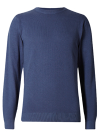 M&5 Mens LIGHT-INDIGO Pure Cotton Textured Jumper - Size Small to XXLarge