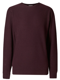 M&5 BURGUNDY Pure Cotton Textured Jumper - Size Small to XLarge