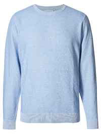 M&5 Mens ICE-BLUE Pure Cotton Textured Crew Neck Jumper - Size Medium to XXLarge