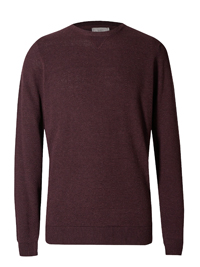 M&5 Mens BURGUNDY Pure Cotton Textured Jumper - Size Medium to Large
