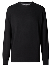 M&5 Mens BLACK Pure Cotton Crew Neck Jumper - Size XLarge