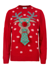 M&5 Mens RED Novelty Reindeer Neck Tie Jumper - Size Small to XXLarge
