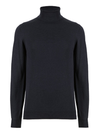 M&5 Mens NAVY Polo Neck Long Sleeve Cotton Blend Jumper - Size Small to X-Large