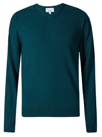 M&5 Mens GREEN V-Neck Long Sleeve Knitted Jumper - Size XSmall to XLarge