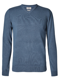 M&5 Mens NDIGO V-Neck Long Sleeve Knitted Jumper - Size Small to XLarge