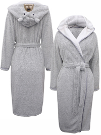M&5 GREY Tatty Teddy Hooded PLUSH Fleece Wrap Dressing Gown - Size 8/10 to 20/22