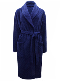 M&5 NAVY Jacquard Textured Fleece Wrap Dressing Gown - Size 8/10 to 20/22