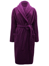 M&5 PURPLE Jacquard Textured Fleece Wrap Dressing Gown - Size 8/10 to 20/22