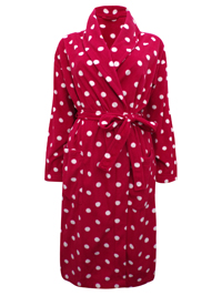 M&5 RED Spot Print Fleece Wrap Dressing Gown - Size 8/10 to 20/22