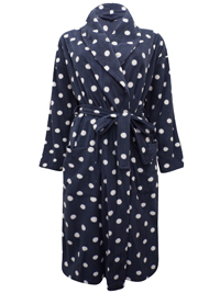 M&5 SLATE Spot Print Fleece Wrap Dressing Gown - Size 8/10 to 20/22
