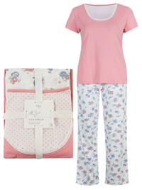 M&5 CORAL Pure Cotton Printed Pyjamas - Size 8/10 to 20/22