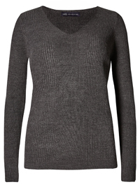 M&5 CHARCOAL Soft Ribbed V-Neck Jumper - Size 14 to 22